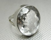 FLASH SALE Rock Crystal Quartz Sterling Silver Ring Size 8 Spectacular Stone!