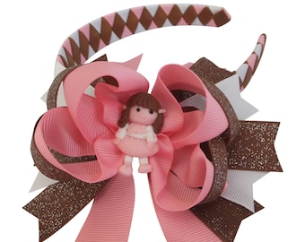 Baby Girl Boutique Hair Bows Woven Headband  Lady Girls Baby Polymer Clay Center Grosgrain Ribbon Disney