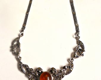 marcasite and amber vintage sterling silver necklace, art deco style, bridal jewelry, mothers day