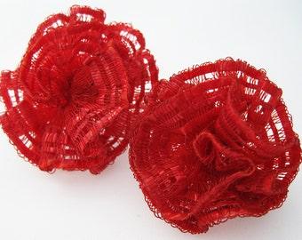 Vintage Red Lace Earrings -  Red Vintage Earrings - Screwbacks - Red Earrings