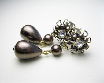 Stunning Rhinestone and Chocolate Pearl Dangle Earrings - Vintage Earrings - Rhinestone Earrings - Screwbacks