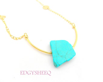 Turquoise Statement Necklace, Gold Tube Long Layering Necklace, Gemstone Slab Necklace, Modern Tribal Howlite Necklace