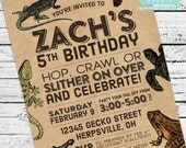 Reptiles & Amphibians Invitation PLUS Thank You Note