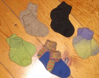 """Wool Baby Socks - 4"""" Foot"""