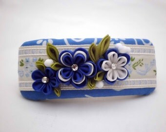 Handmade FRENCH BARRETTE, Blue white flowers kanzashi, Cottage chic, Upcycled batik, Fabric flower hair clip, ooak