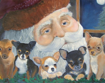 """Chihuahua Dog Art Print - """"Believers"""" - by Original Mike Holzer - Christmas"""