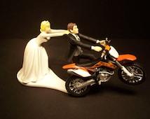 Come Back ORANGE 450 Dirt BIKE Bride and Groom Funny Motorcycle Wedding Cake Topper Groom's Cake