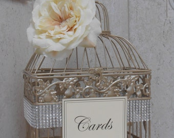 Small Champagne Gold Wedding Birdcage Card Holder / Wedding Card Box / Gold Birdcage / Wedding Card Holder