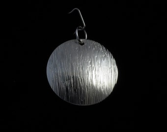 Domed Disc Circle Moon Pendant Necklace Textured Sterling Silver
