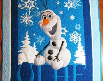 Disney Frozen Olaf quilt, Girl Quilt, Boy Quilt, Child quilt, Lap Quilt, Wall Hanging, Cotton Fabric, Frozen, Disney