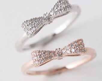 CZ Sterling Silver Bow Ring in Rose Gold, White Gold - Silver Bow Jewelry