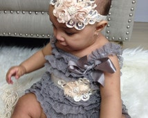 Posh  Lace gray Pettirompers  ivory sash and headband set