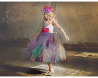 Flower Girl Tutu Dress Teal Purple Pink Jewel Tones Peacock Wedding