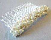 Bridal Pearl Haircomb Sparkly Hair Accessory Bride Wedding Hair Pearl and Rhinestone Hair Comb Decorative Comb Bridal Hair Comb White Ivory