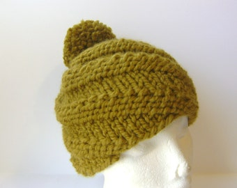 Knit Hat, Swirl Rib Beanie with Pom Pom in Olive Green, Chunky Hand Knit Wool Adult Size Spiral