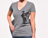 Black Phoenix on Grey T-Shirt -  Women's V-Neck - S,M,L - Made to Order