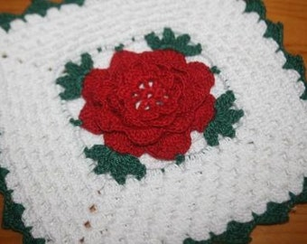 Set of Two Vintage Rose Crocheted Potholders