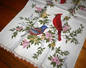 Bird Lover's Vintage Hand Embroidered Dish Towel
