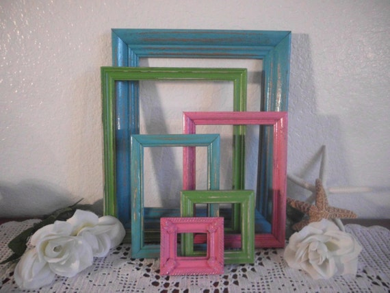 Lime Green Aqua Turquoise Blue Pink Colorful Picture Frame Set Shabby Chic Photo Gallery Collection Beach Cottage Summer Wedding Home Decor
