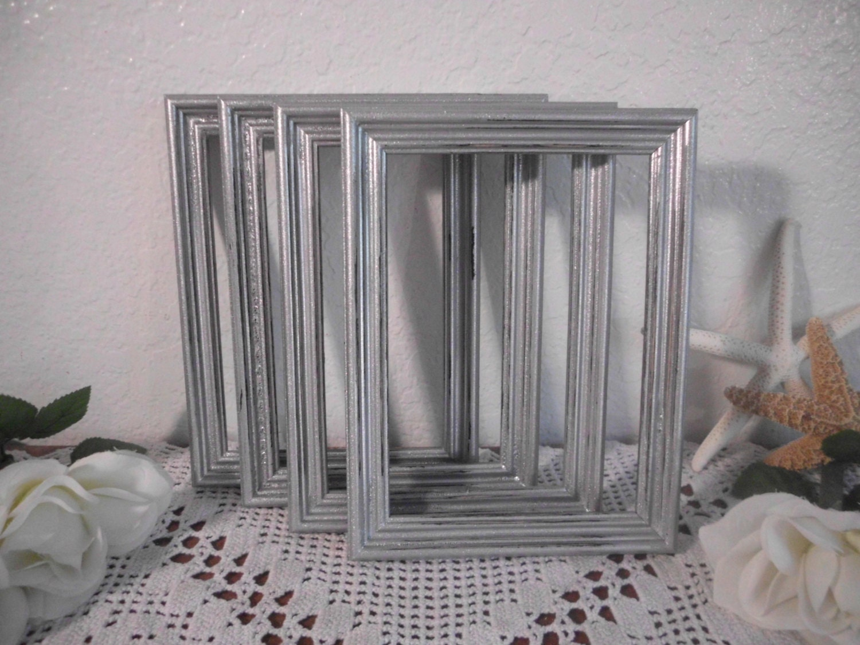 silver wedding table number frame rustic shabby by elegantseashore