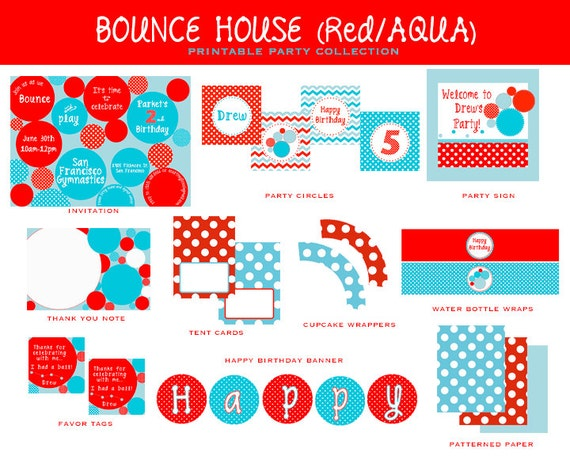 Red & Aqua BOUNCE HOUSE, Full Party Printable COLLECTION, Circles, Printable Invitation and Decoration