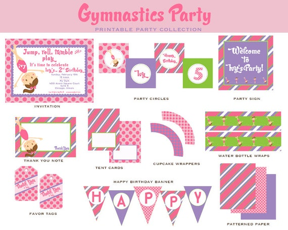 GYMNASTICS BIRTHDAY-Full Collection- Tumble and BOUNCE -Pink and Purple, Girls Gymnastics Invitation and Party Decorations