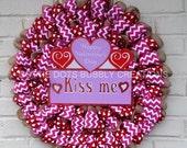 "Happy Valentine's Day, Kiss Me  Chevron Burlap & ""Ribbon Flat Design Wreath"
