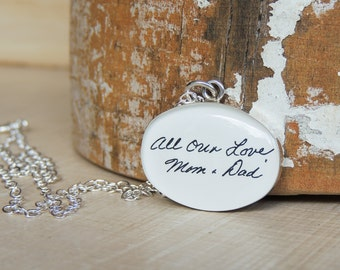 CUSTOM Handwriting Necklace - Handwriting Jewelry - Signature Pendant - Loved One's Writing - Mothers Day - Bouquet Charm - Memorial Jewelry