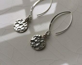 Round Sterling Silver Hammered Disc Hoop/Dangle Earrings