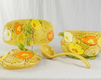 Vintage 70s Fred Roberts majolica soup tureen ladle and divided dish Summer Flame poppies pattern