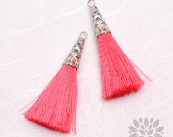 T003-02-R-PK// Original Rhodium Plated Cone Pink 45mm Tassel Pendant, 2pcs