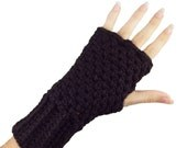 Black Fingerless Gloves with individual finger holes IN XL