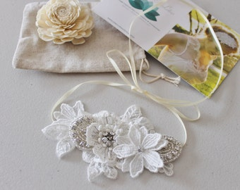 Vintage inspired  off white lace flower bridal cuff bracelet