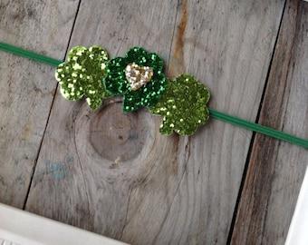 Green Glitter Shamrock St Patricks Day Headband Baby Girl Headbands Baby Headbands Newborn Headbands Photography Prop  Toddler Headbands