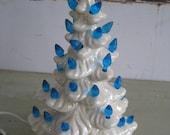 vintage white ceramic blue light up christmas tree