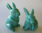 2 Garden Bunnies Set Turquoise Distressed Up Cycled Decorations for the Garden