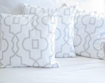 decorative pillows, trellis pillows, grey pillows, lattice pillows, chair pillow, home decor, neutral pillows, 14 inch pillows, grey white
