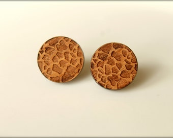 Giraffe Print Wood Studs, Laser Cut Wood Earrings