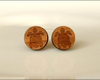 Sea Turtle Studs, Laser Cut Wood Earrings