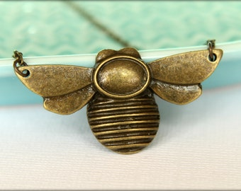 Bee Necklace, Available in Aged Brass or Silver