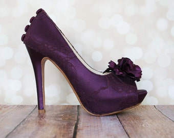 lace wedding shoes aubergine wedding shoes plum wedding high heel shoes aubergine