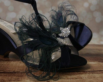 Wedding Shoes -- Navy Blue Wedge Wedding Shoes with a Navy Blue Peacock Feather Adornment