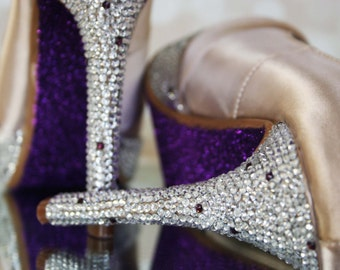 Champagne Wedding Shoes - Champagne Platform Peep Toe Wedding Shoes with Silver Crystal Covered Heel and Purple Glittered Sole