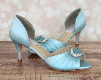 Wedding Shoes -- Pool D'Orsay Style Peep Toe Wedding Shoes with Silver Ring Adornment on Toe