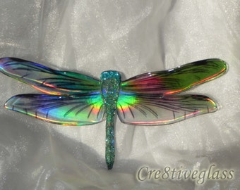 Large wall hanging multicoloured Iridescent resin dragonfly