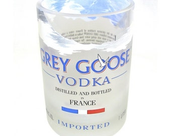Grey Goose Glass, Recycled Liquor Vodka Tumbler Rocks Glass Blue Wedding Groomsmen