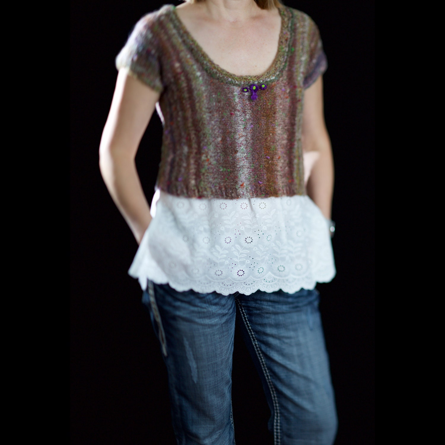 Arm Knitting Vest : Women cropped sweater vest t shirt short sleeve hand by