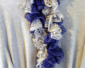Navy & Gray Crocheted Extra Long Ruffle Scarf