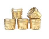 Shabby Chic Gold Mason Jars, Quilted Mason Jars for Tea Light Holders, Small Vases, Wedding Favors,