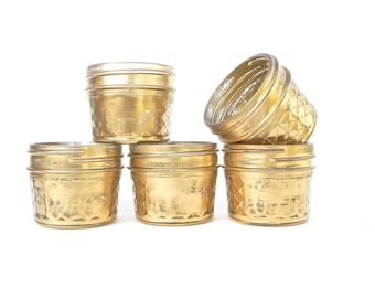 Shabby Chic Gold Mason Jars, Quilted Mason Jars for Tea Light Holders, Small Vases, Wedding Favors,